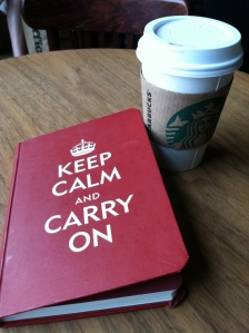 My new Starbucks treat, Skinny Hazelnut Latte, and my journal with one of my favorite sayings!