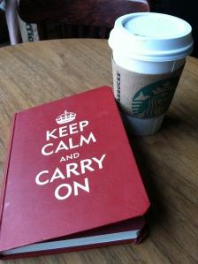 My new Starbucks treat, Skinny Hazelnut Latte, and my journal with one of my favorite sayings!