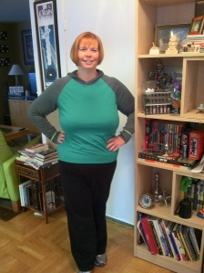 "Here I am wearing my new ""regular"" size work out clothes at Week 14!"