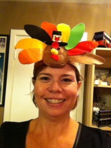 Here I am with my turkey headband for the 5K Turkey Run on Thanksgiving.  Wish me luck!