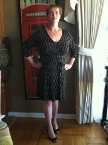 "My first new dress in my weight loss journey!  And high heels too!  It was nice to feel confidant and comfortable wearing this on a ""moms night out"" evening."