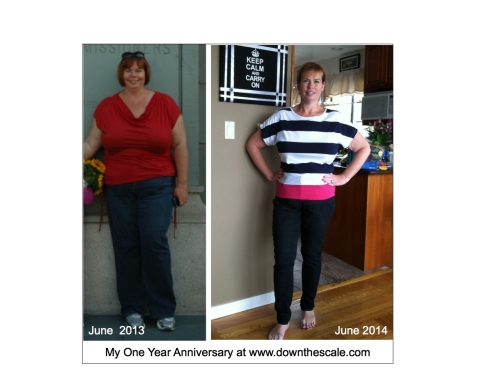Yes, a year makes a difference!  96.5 pounds are gone!