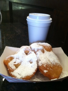 Yes, my guilty pleasure!  Cafe au lait and beignets!  I am so happy I was able to enjoy a bit of these New Orleans treats!
