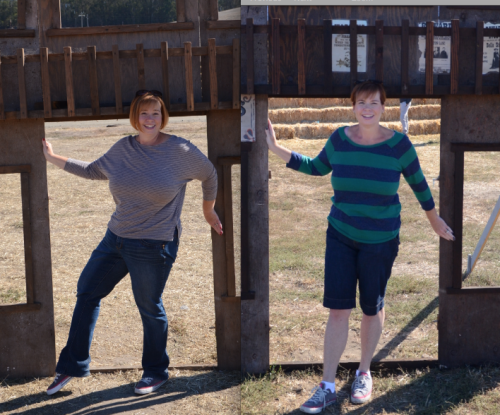 A year does make a difference!  On the left is last year's visit to the pumpkin patch 4 months after my surgery.  On the right is this year's photo.  I'm looking forward to comparing these to next year's photo!