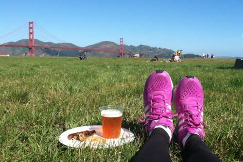 Pancakes and beer with a gorgeous view after the race!