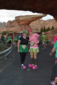 My amazing friend, B., with me at Radiator Springs during the race! Disney races are the perfect ones for first time races since you know you're doing to stop for photos!
