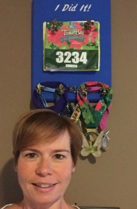 """I Did It!"" Why, yes, I did run all these races featured on my new display. It still amazes me that running is part of my life. From obese to a runner...my Down the Scale journey makes me so happy!"