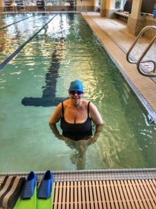 Proof that I am actually going in the pool!  And yes, I'm in a bathing suit!  Be comfortable with your body..it's the best gift you'll give yourself!